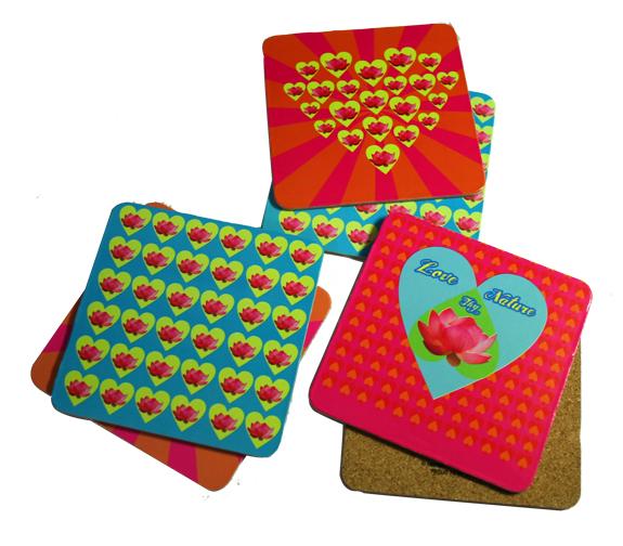 Hearts & lotus coaster set MRP 500 rs